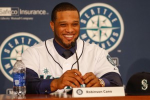 Robinson Cano at a press conference after signing a 10-year, $240 million contract with the Seattle Mariners. (Photo via NY Post)
