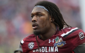 South Carolina DE, Jadeveon Clowney during the 2014 Capital One Bowl in Orlando, Fla.  The Gamecocks beat Wisconsin 34-24. (Photo via CBS Sports)