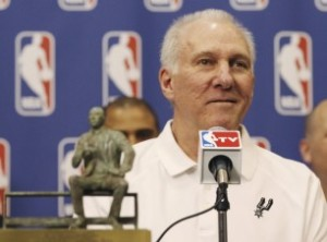 San Antonio Spurs coach Gregg Popovich with the Red Auerbach Trophy after being named the 2013-14 NBA Coach of the Year. (via San Antonio Express-News)
