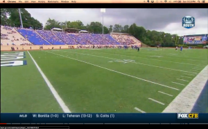 In a crowd shot I found of the Kansas game at Duke on Saturday, Fox Sports South shows the exceptionally small crowd at this game of basketball powers. (Fox/ESPN)
