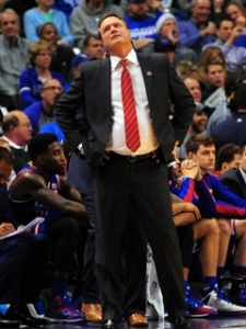 Kansas coach Bill Self was frustrated as they faced Kentucky in the Champions Classic on Tuesday.  The Jayhawks would lose 72-40. (247 Sports)