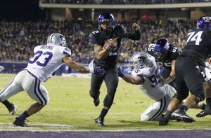 Trevone Boykin accounted for 219 yards and a TD through the air as well as 3 more TD's on the ground when TCU blew out Kansas State on Saturday in Fort Worth. (Fansided.com)