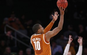 Jonathan Holmes hit a buzzer-beating 3-pointer at Connecticut on Sunday afternoon, giving the Longhorns a huge non-conference win.  (AP/NBC Sports)