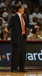 Oklahoma State's Travis Ford shows frustration during Saturday's Bedlam loss at Oklahoma. (The O'Colly)