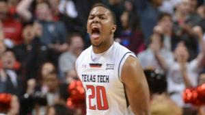 Toddrick Gotcher celebrates as unranked Texas Tech upset No. 12 Iowa State in Lubbock on Saturday.  (ESPN)