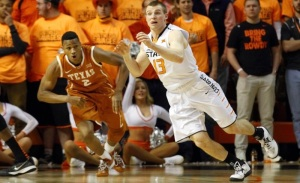 Oklahoma State's Phil Forte (right) had a game-high 20 points alongside Le'Bryan Nash's 20 to lead the Pokes to an upset win over No. 10 Texas. (Pistols Firing)