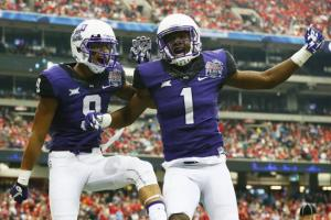 TCU dominated the Chick-Fil-A Peach Bowl in their New Year's Six bowl game against No. 9 Ole Miss after dropping from No. 3 to No. 6 in the CFP rankings following a 55-3 thumping of Iowa State to end the regular season. (Bleacher Report)