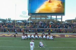 During the game at Minnesota, TCU kicker Jaden Oberkrom ended up kicking with a video playing of a chipmunk at TCF Bank Stadium in Minneapolis. (SB Nation)