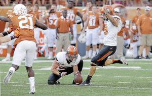 Ben Grogan saved the day for Oklahoma State in Austin on Saturday.  Grogan hit field goals to tie the game at 27 and to win for the Cowboys. (Tulsa World)