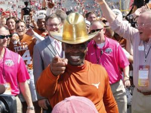 Charlie Strong and Texas beat Oklahoma in the 2015 Red River Rivalry, to the surprise of many. Some in the media were arguing that had the Longhorns lost, Strong would be out in only his second year of a dire rebuild in Austin. (WFAA)
