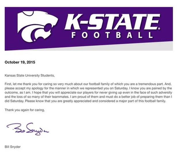Kansas State coach Bill Snyder wrote a letter to the Kansas State University students, apologizing for the Wildcats' embarrassing loss to Oklahoma. (Kansas City Star)